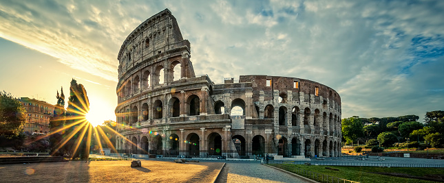 View Of Colloseum At Sunrise Stock Photo - Download Image Now