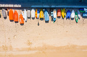 view of colorful boats in sandy beach in Cheung Chau, Hong Kong, China