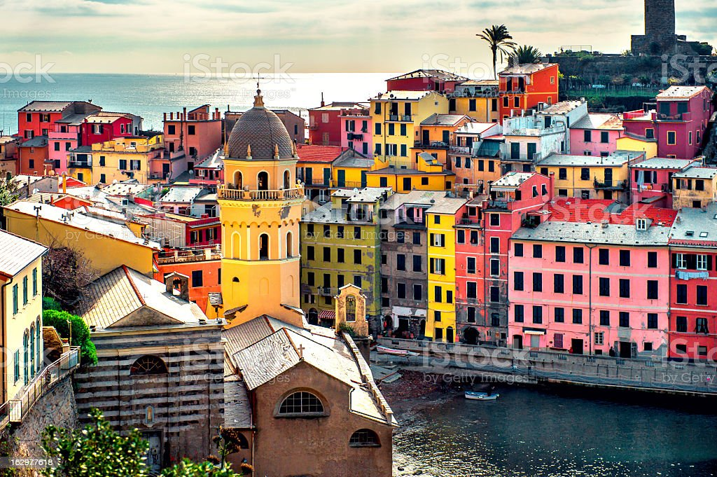View of colorful fishermen's town of Vernazza in Italy stock photo