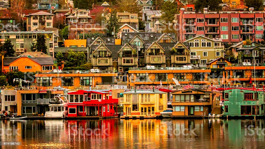 View of Colorful Homes from Across Lake Union stock photo