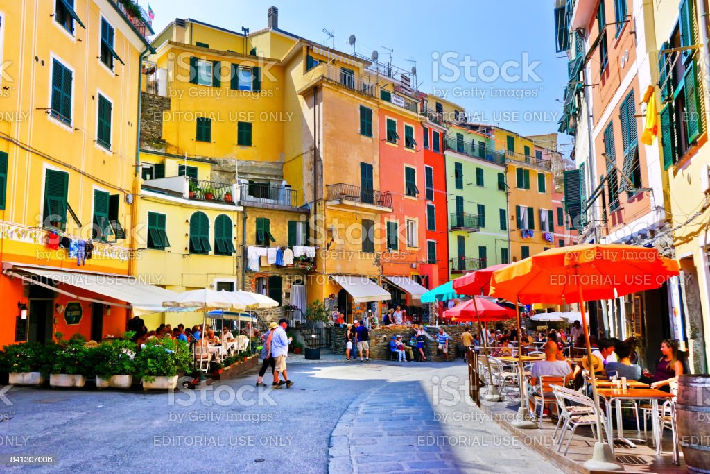 View of colorful houses in Vernazza village stock photo