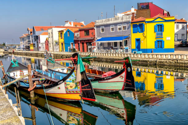 view of colorful moliceiro boats and buildings in aveiro, portugal. - aveiro imagens e fotografias de stock