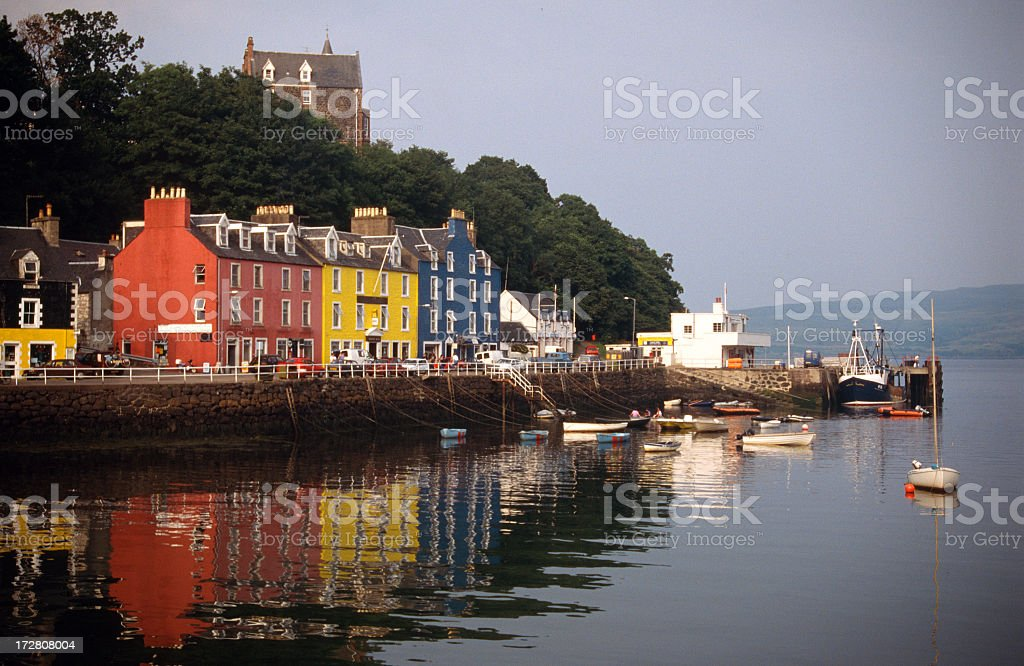 View of colorful Tobermory Harbor from across the water stock photo