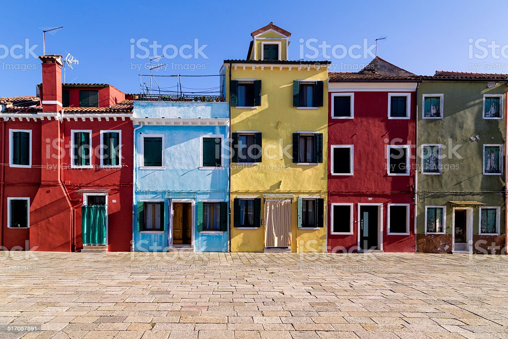 View of Colorful Traditional Buildings in Burano, Venice stock photo