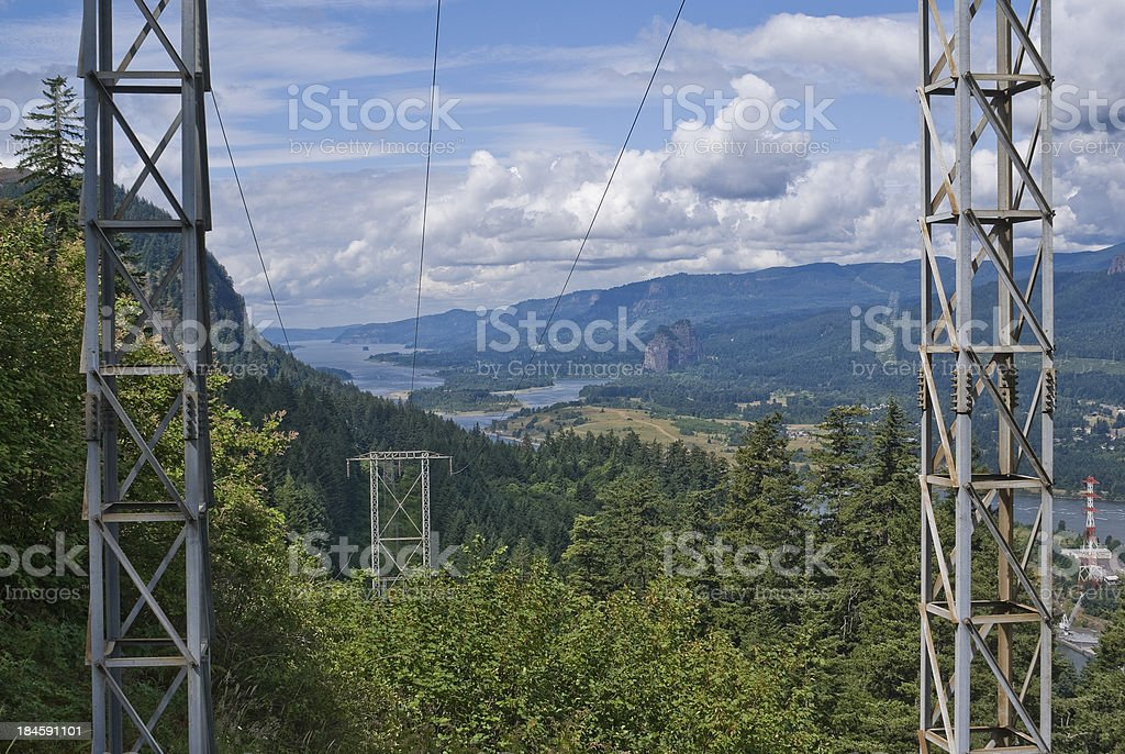 View of Columbia River Gorge and Electrical Transmission Towers stock photo