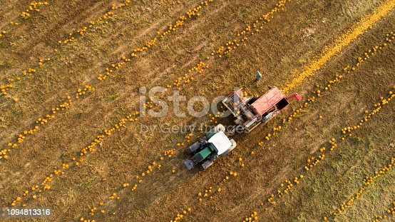 Directly above view of combine-harvester working on field