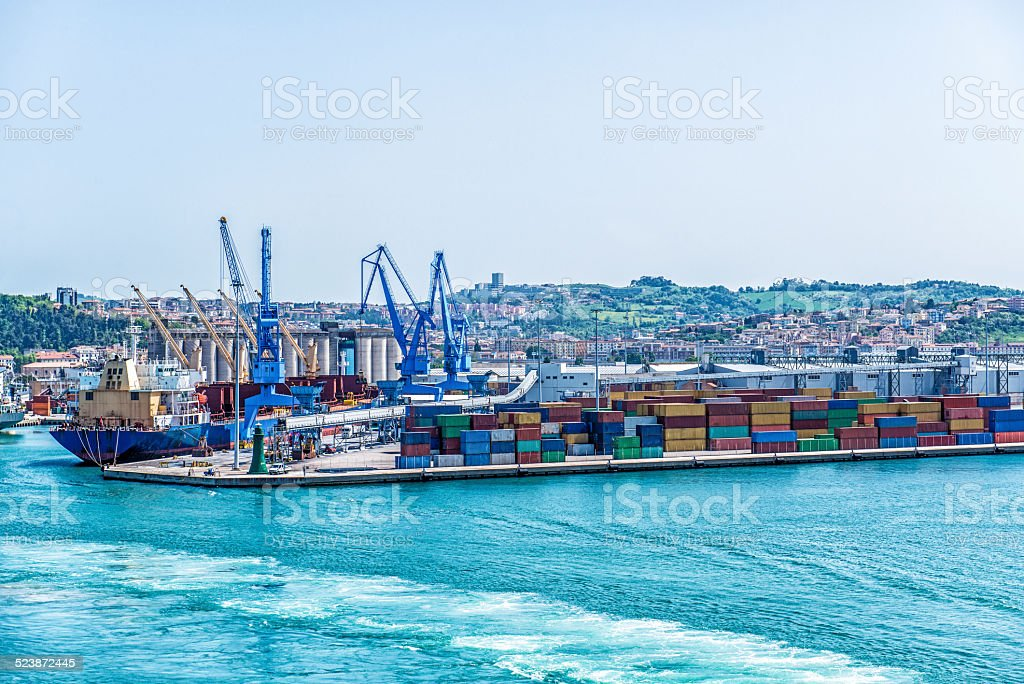 View of Commercial Shipping Port of Sea Industrial Area stock photo