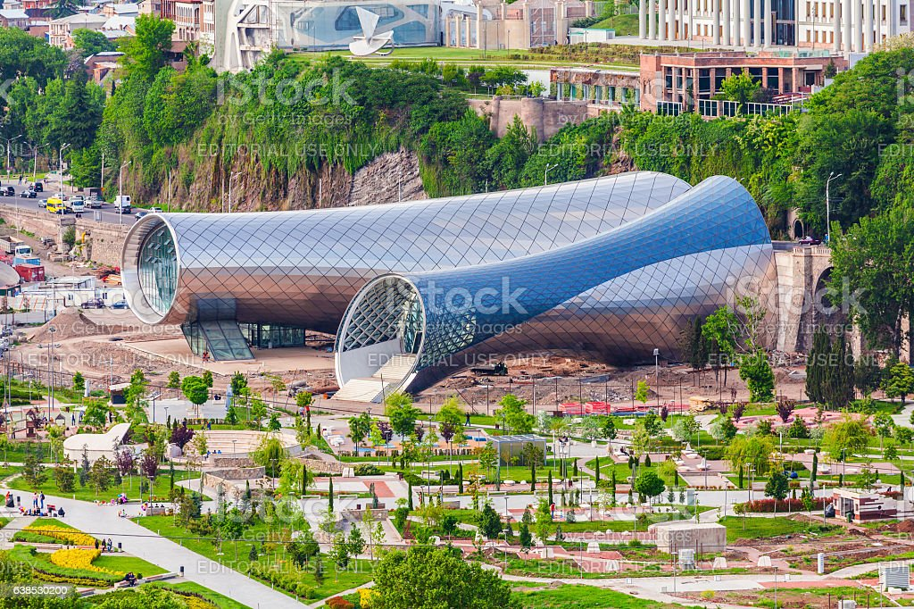 View of Concert Music Theatre Exhibition Hall In Summer Rike stock photo