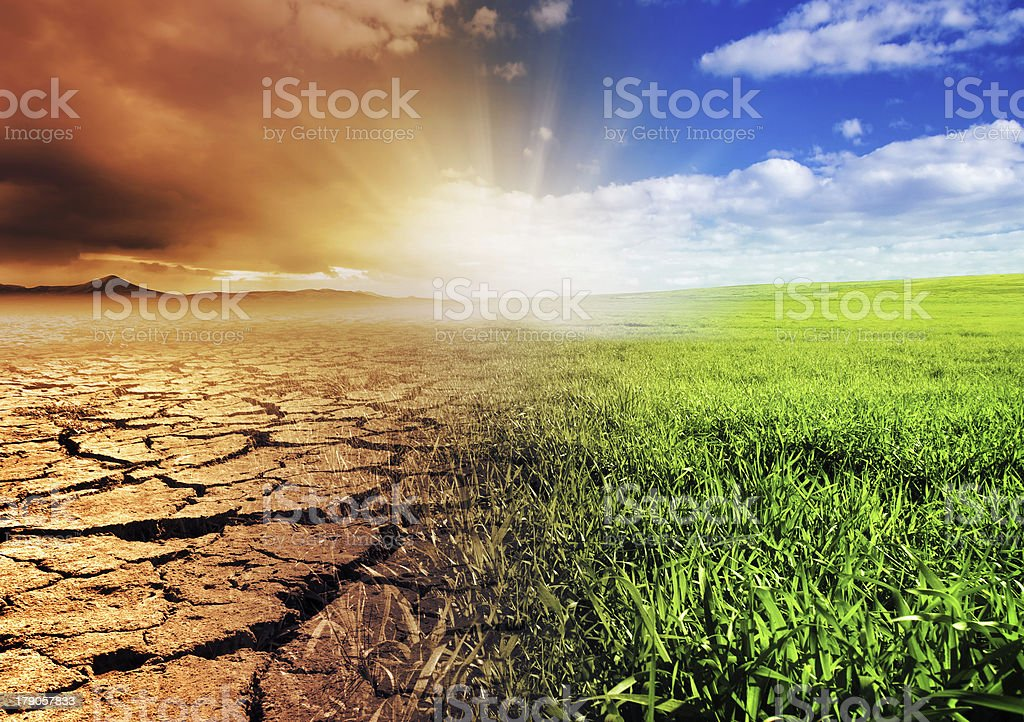 View of contrasting landscape stock photo