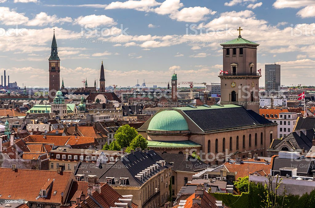 View of Copenhagen from The Round Tower stock photo