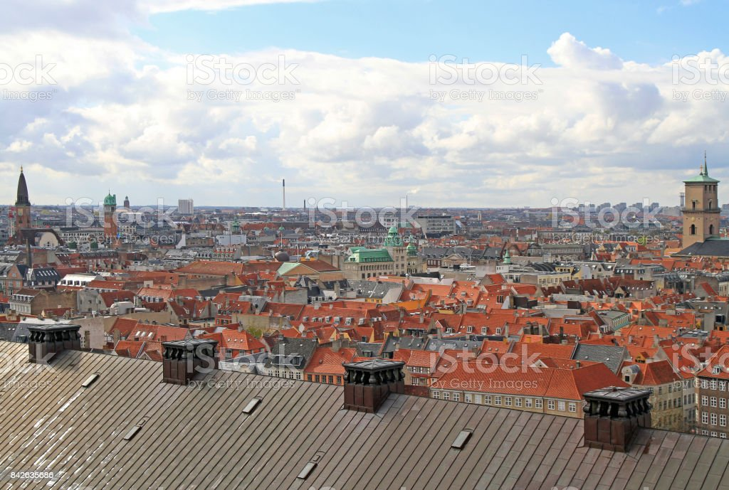 view of Copenhagen from the tower of Christiansborg palace stock photo