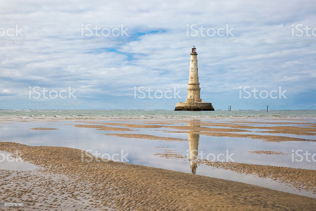 view of Cordouan lighthouse at low tide, Gironde estuary, France stock photo
