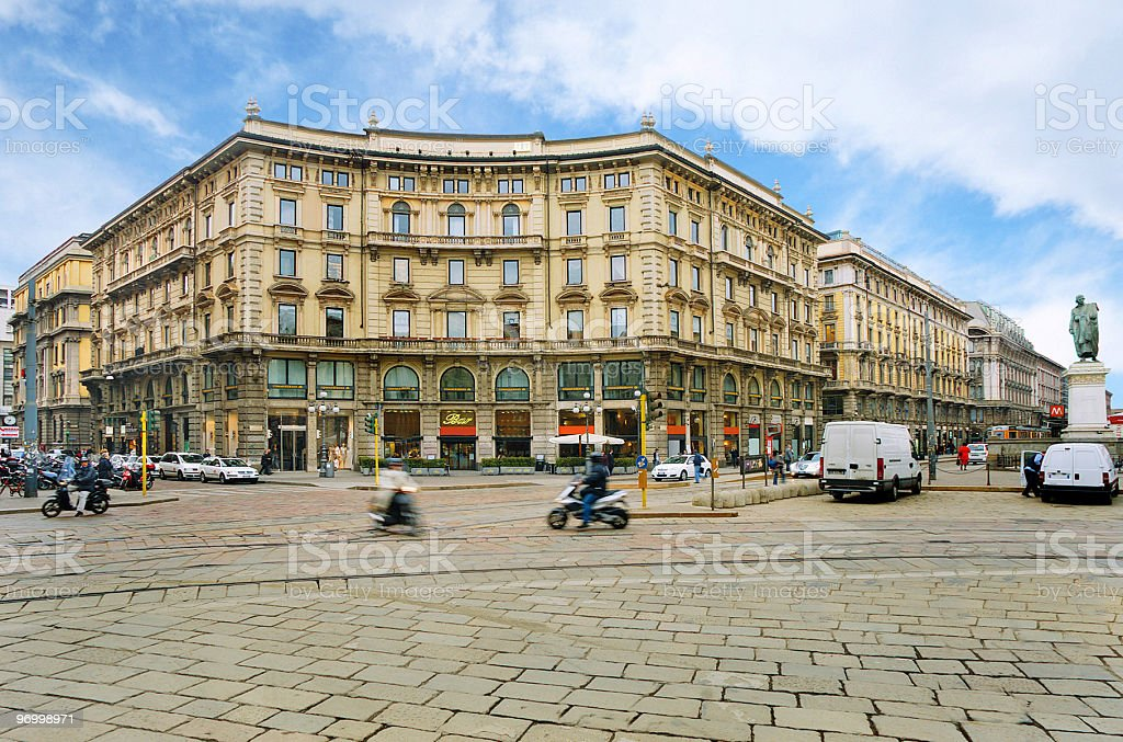 View of Cordusio Square in Milan, Italy stock photo