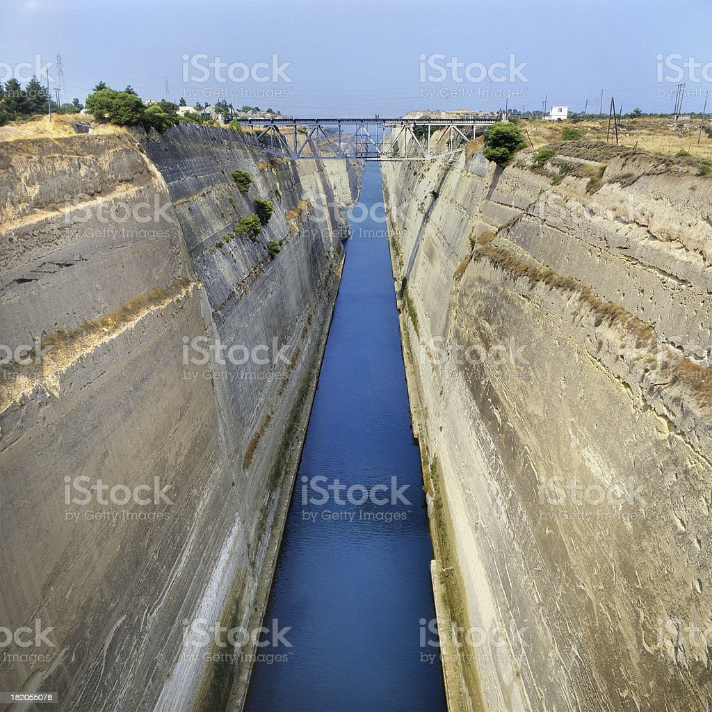 View of Corinth Canal without ships, from above, Greece stock photo