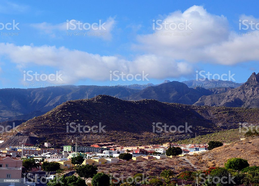 View of Costa Adeje,Tenerife,Canary Islands,Spain. stock photo