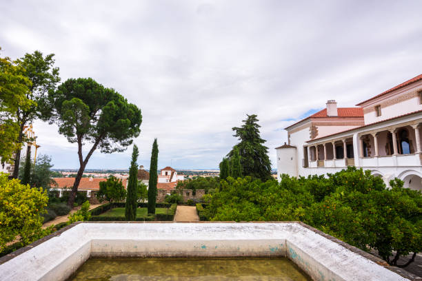 View of countryside from a coffee shop patio in Evora, Portugal stock photo