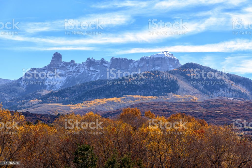 View of Courthouse Range near Ridgway, Colorado in fall stock photo