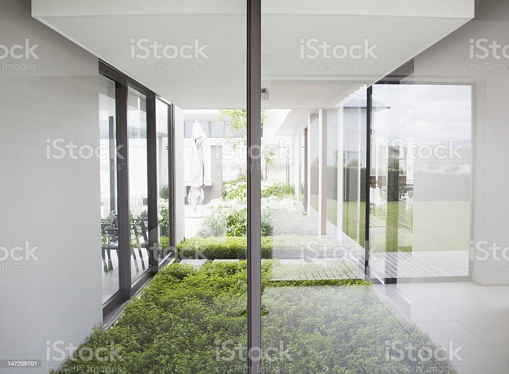 View of courtyard from windows of modern house stock photo