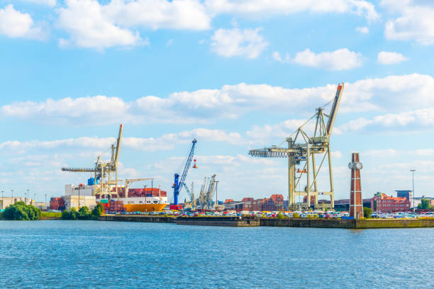 View of cranes in the port of bremen, Germany. stock photo