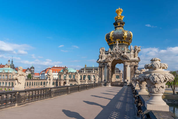 View of Crown Gate (Kronentor) in the courtyard of Zwinger Palace, royal palace XVII century in Dresden, Germany. View of Crown Gate (Kronentor) in the courtyard of Zwinger Palace, royal palace XVII century in Dresden, Germany. zwanger stock pictures, royalty-free photos & images