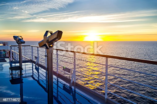 istock View of cruise liner deck, ocean and sunrise 467774672