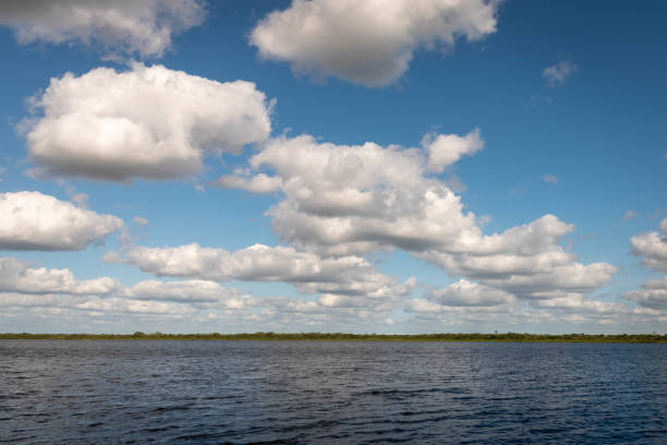 A view of cumulus clouds and  New River Lagoon located east of the Maya Temples of Lamanai.