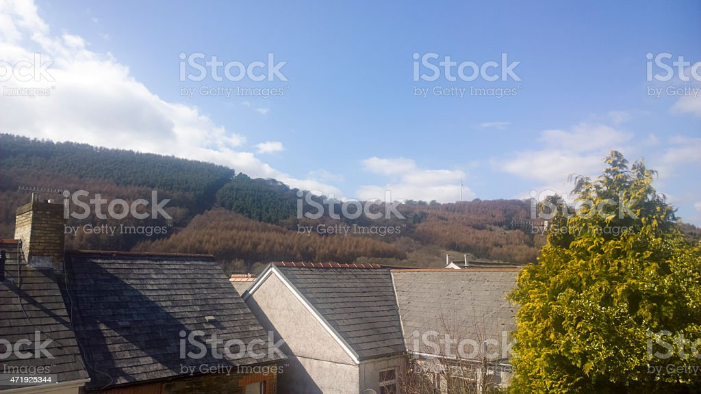 View Of Cwmfelinfach Valleys stock photo