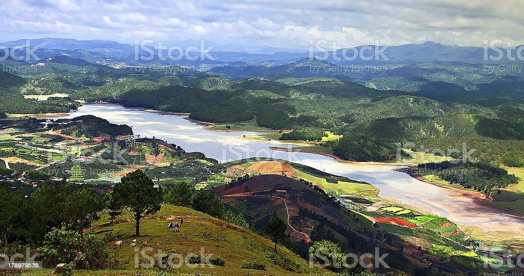 View of Dalat river on Langbiang mountain,Da Lat stock photo