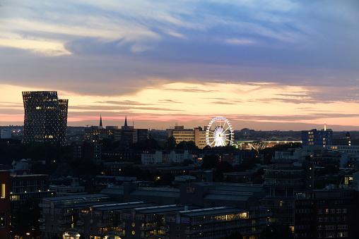 View of Dancing Towers and Ferris Wheel - Hamburg's landmarks