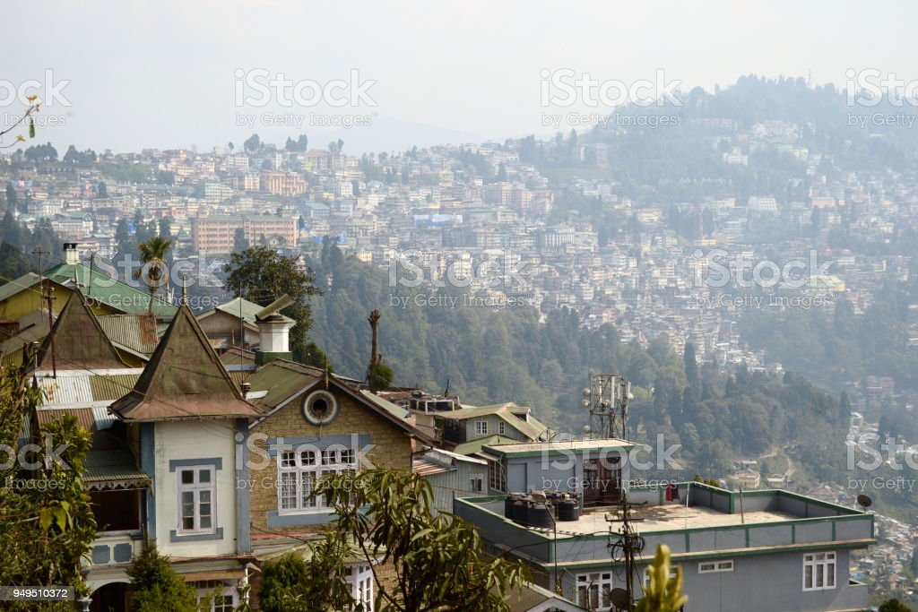 View of Darjeeling city on the hill stock photo