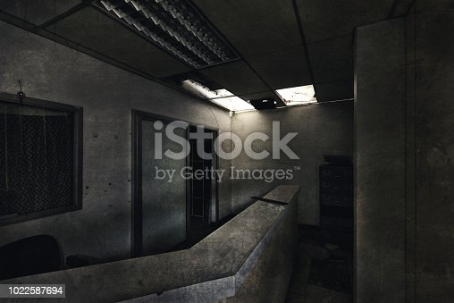 View of dark room abandoned in the Psychiatric Hospital at bangkok, Thailand. Halloween frightful Concept.