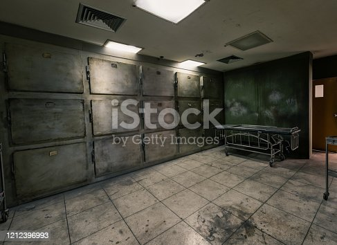 View of mortuary dark room abandoned in the Psychiatric Hospital setup for film movies maker at bangkok, Thailand. Halloween frightful Concept.