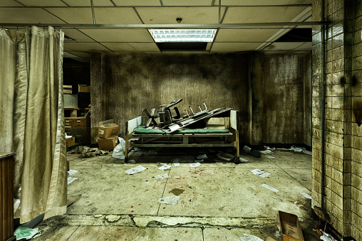 Set up view of dark room abandoned in the Psychiatric Hospital for movie Film set at bangkok, Thailand. Halloween frightful Concept.