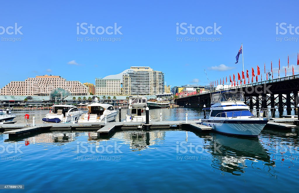 View of Darling Harbour in Sydney stock photo