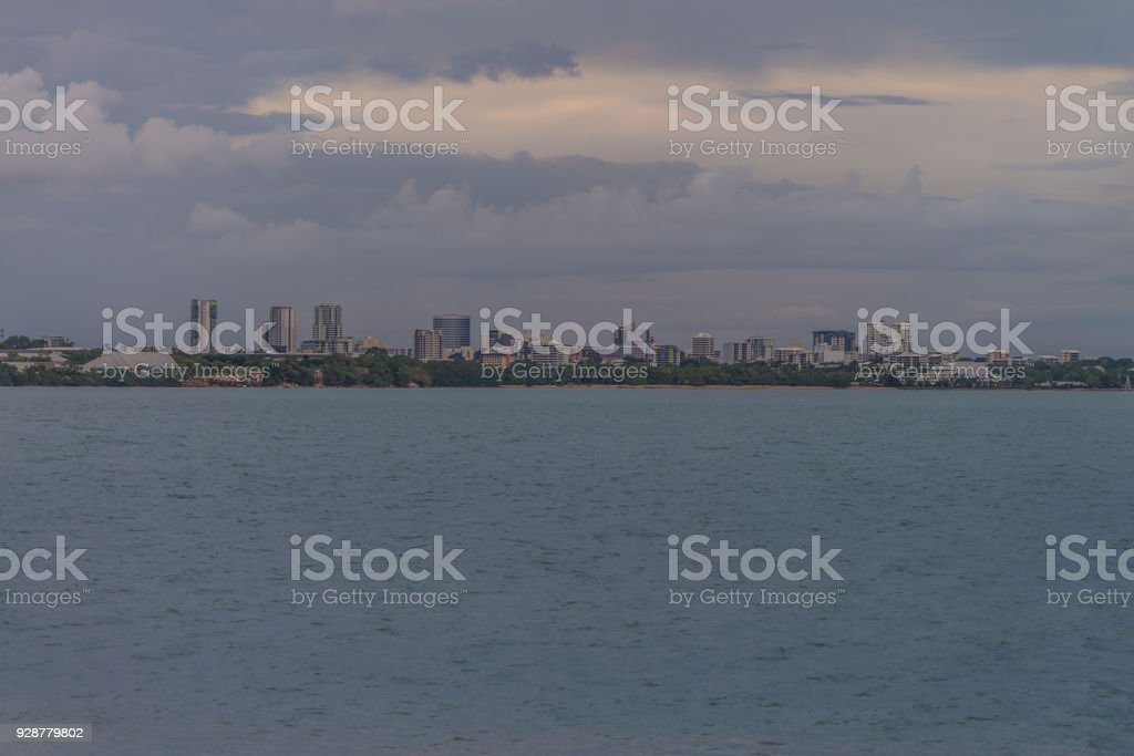 View of Darwin city from East Point Reserve stock photo
