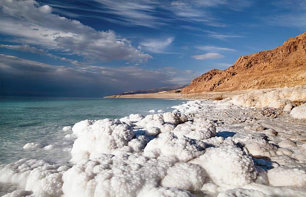 View of Dead Sea coastline stock photo