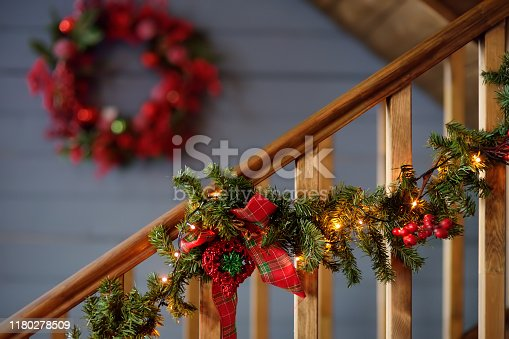 View of decorated christmas house interior. Xmas mood.