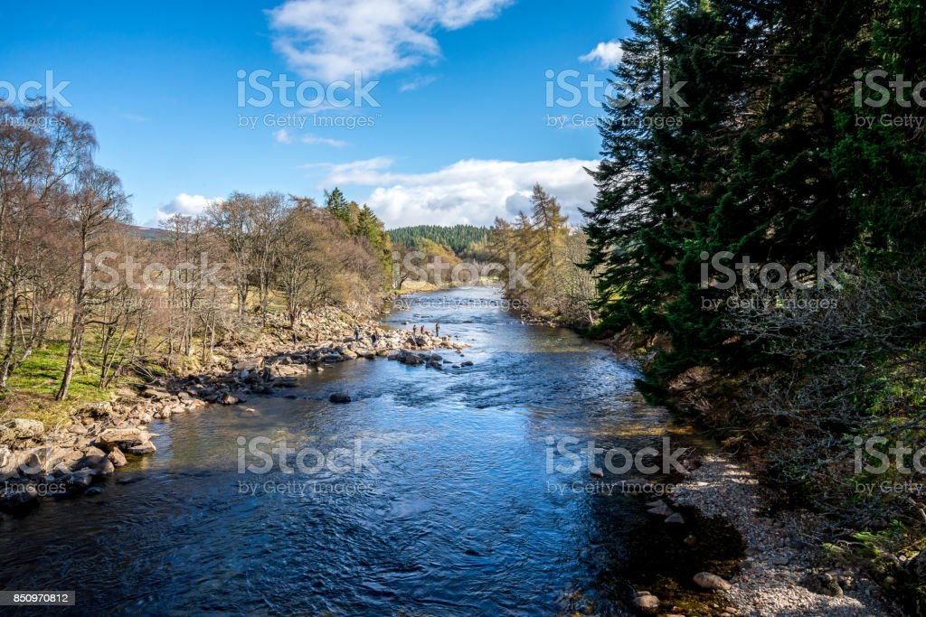 A view of Dee river from the bridge near Balmoral Castle, Aberdeenshire, Scotland stock photo