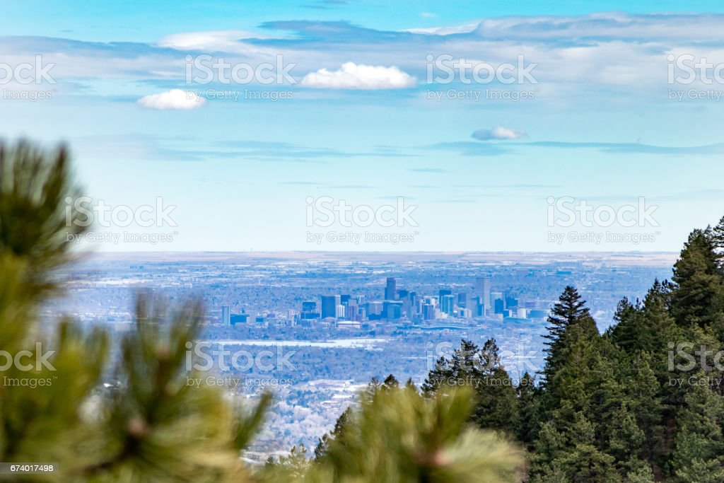 View of Denver Colorado from the foothills stock photo