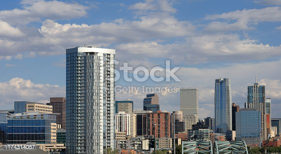 View of Denver, Colorado, downtown cityscape on a sunny afternoon.