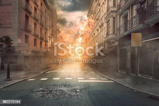 istock View of destruction city with fires and explosion 862270154