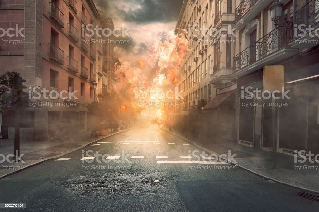 View of destruction city with fires and explosion stock photo
