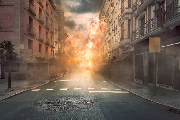 view of destruction city with fires and explosion - apocalypse stock photos and pictures