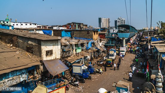 view of dharavi entrance the big slum in the city of bombay