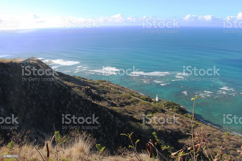 View of Diamond Head Lighthouse from top of Diamond Head stock photo
