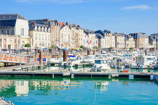 View of Dieppe port Dieppe, France - September 16, 2012: View of the port, with various boats, local businesses, locals and visitors, in Dieppe, France dieppe france stock pictures, royalty-free photos & images