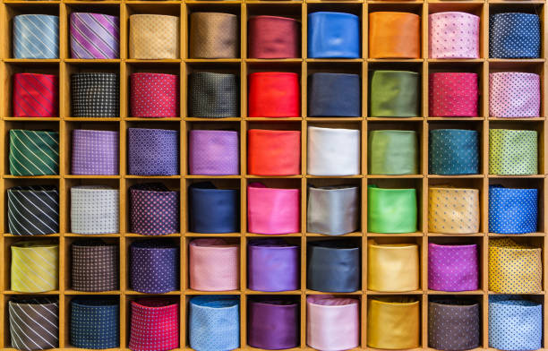 View of different colors ties in the showcase stock photo