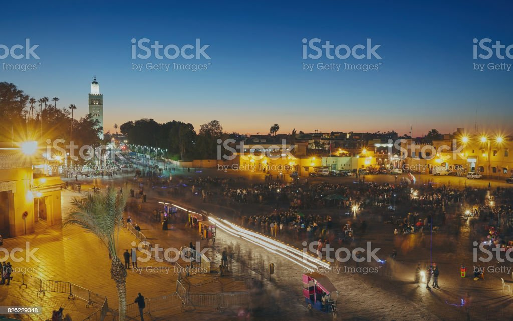 view of Djemaa el Fna, a square and market place in Marrakesh's medina quarter stock photo