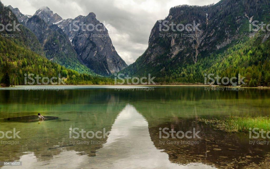 Blick auf Toblach oder Toblacher See in Dolomiten, Italien, in einem bewölkten Tag – Foto