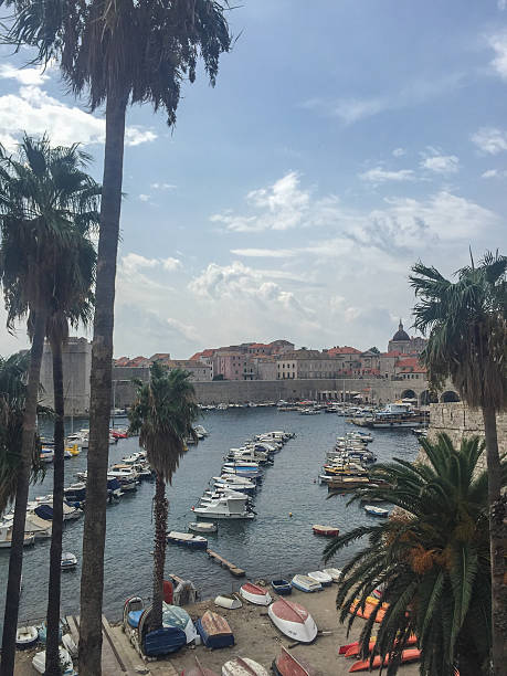 View of docks in Dubrovnik Croatia stock photo